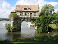 Old mill in the bridge on the Seine at Vernon Royalty Free Stock Photo