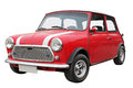 Old mini car small red isolated on a white background Stock Photography