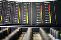 Old mixer close up of analogue mixing console image with particular focus and blurred foreground Royalty Free Stock Photography