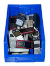 Old mobile phones in a blue box Royalty Free Stock Photo