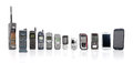 Old Mobile Phones from past to present on white background. Royalty Free Stock Photo