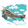 Old model airplanes that are flying in the air with the sky as background Royalty Free Stock Photo