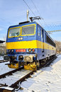Old model of electric locomotive in prague specific czech republic winter time Royalty Free Stock Photography