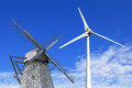 Old  and modern windmills Royalty Free Stock Photo