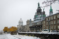 Old Montreal with Bonsecours Market and Notre-Dame-de-Bon-Secours Chapel during a snow day - Montreal, Quebec, Canada Royalty Free Stock Photo