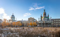 Old Montreal skyline with Bonsecours Market and Notre-Dame-de-Bon-Secours Chapel - Montreal, Quebec, Canada Royalty Free Stock Photo