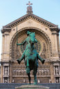 Old monument of jeanne d arc joan of arc near the church st augustine in paris france Royalty Free Stock Photo