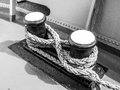 Old mooring bollard on the ship in black and white Royalty Free Stock Image