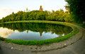 Old moscow monastery pond in russia Royalty Free Stock Photography