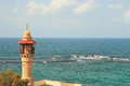 Old mosque yafo israel s minaret and beautiful mediterranean sea in in Stock Photography