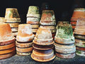 Old mossy clay pots