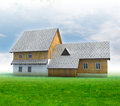 Old mountain cottage with green grass and blue sky Royalty Free Stock Photo