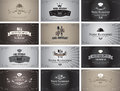 Old movies set of business cards on the theme of food and drinks in style black and white film Royalty Free Stock Photos