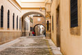 Old narrow street in european city. Plasencia Royalty Free Stock Photo