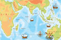 Old navy map indian ocean Royalty Free Stock Photos