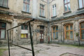 Old neglected courtyard in the city of łódź poland Royalty Free Stock Image