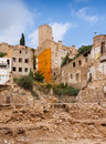 Old neglected houses in spanish town tortosa Royalty Free Stock Photography