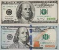 Old and new 100-dollar bills and banknotes, the front side Royalty Free Stock Photo
