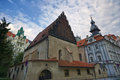 Old new synagogue in prague and jewish town hall czech republic Stock Photos