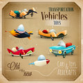 Old and new toys aircraft planes and vehicles eps vector set Royalty Free Stock Photos