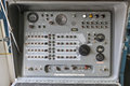 Old nike missile control panel with dials and lights switches knobs a speaker Stock Photo