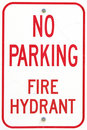 Old no parking fire hydrant sign Stock Images