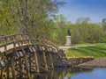 Old north bridge concord mass usa site of the first american victory in the revolutionary war on april with statue of minuteman in Stock Photos