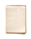 Old notepad spiral striped on white background Stock Photo
