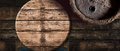 Old oak beer or wine barrel background Royalty Free Stock Photo