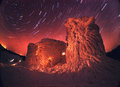 Old observatory and the night sky over snowy remnants of polish rotates beautiful all highlighted hand lamps Stock Photos