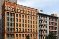 Old office buildings in lower manhattan with ornate designs Royalty Free Stock Photography