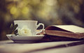 Old open books and a cup with a white wild rose Royalty Free Stock Photo