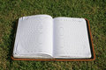 Old open notebook on grass Royalty Free Stock Photography