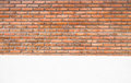 Old orange brick wall and white cement wall texture background Royalty Free Stock Photo