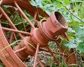 Old orange farm machinery Royalty Free Stock Photo