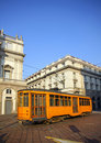 Old orange tram in Milan Stock Photo
