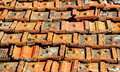 Old orange weathered roof shingles. Dirty stained ceramic tiles Royalty Free Stock Photo