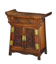 Old original vintage wooden Chinese chest cupboard Royalty Free Stock Photo