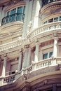 Old ornamental building at gran via in madrid spain Royalty Free Stock Photos