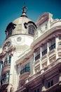 Old ornamental building at gran via in madrid spain Royalty Free Stock Image