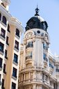 Old ornamental building at gran via in madrid spain Royalty Free Stock Photography