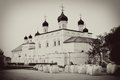 Old orthodox church kremlin in astrakhan russian vintage style sepia photo Stock Photo