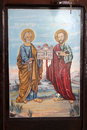 Old orthodox Icon of the apostles Saint Peter and Saint Paul Royalty Free Stock Photo