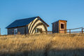 Old Outhouse and workshed on Wyoming Ranch Royalty Free Stock Photo