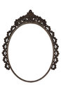 Old oval picture frame metal worked on white background Royalty Free Stock Photo