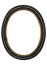 Old oval picture frame wooden isolated white background Royalty Free Stock Photo
