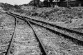 Old overgrown used railway tracks intersection merge artistic co Royalty Free Stock Photo