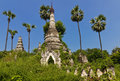 Old overgrown wild buddhist pagodas near mandalay burma Stock Photo