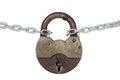 Old padlock and chain isolated on white background Royalty Free Stock Photography