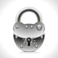 Old padlock good protect against intruders and thieves Stock Photo